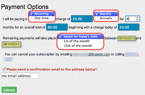 Recurring payment options example
