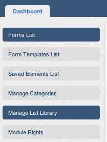 Manage list libraray button