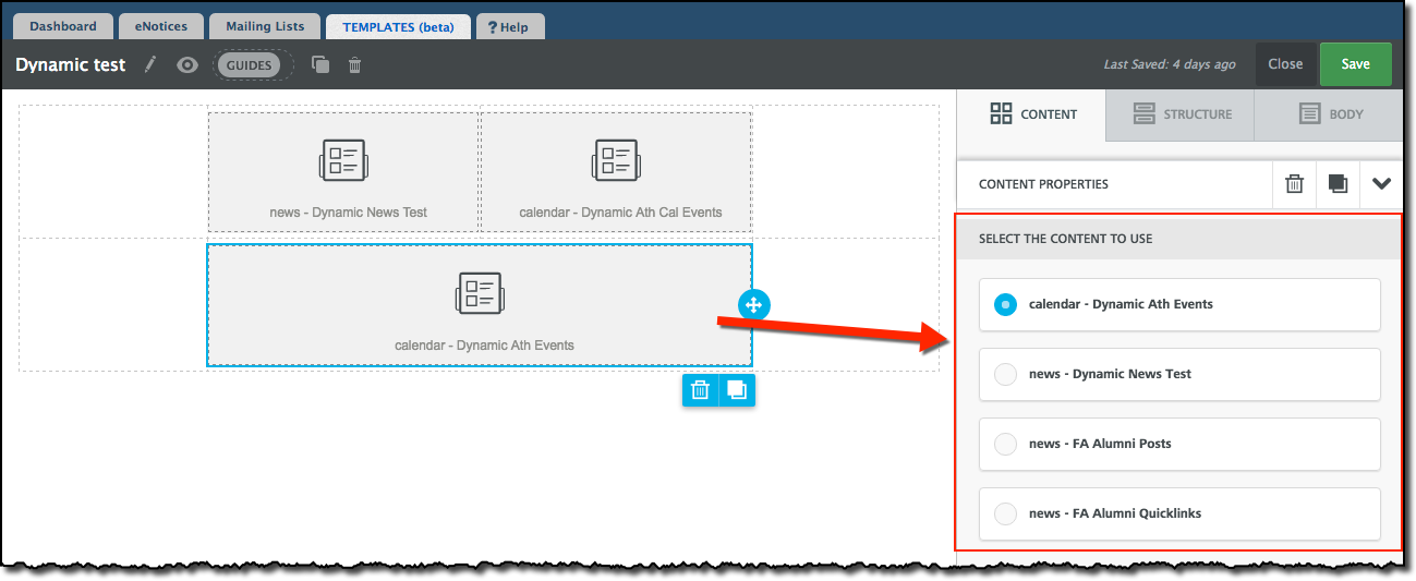 Create Dynamic Content elements – Finalsite Support Help Center