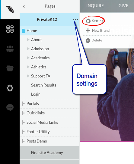 domain settings menu