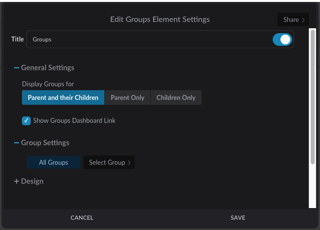 Groups element settings