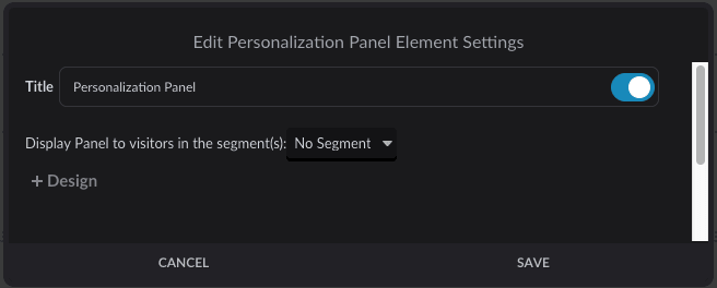 Personalization Panel element settings