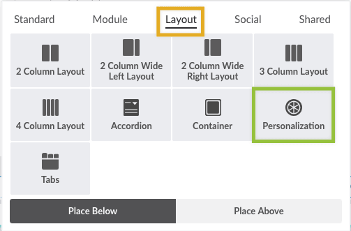 Personalization element on Layout tab of Element Library