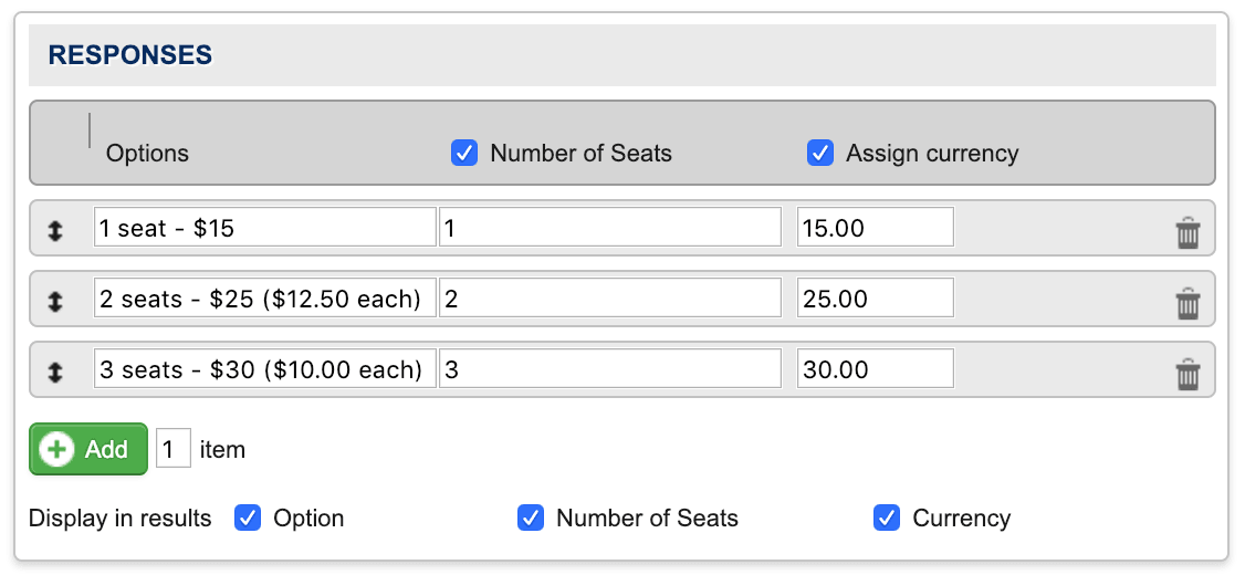 Tiered Pricing responses settings