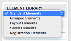 Element library with dropdown