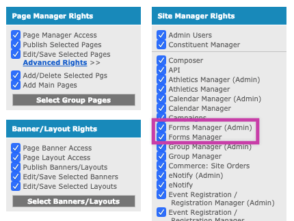 Admin Users Forms Manager rights