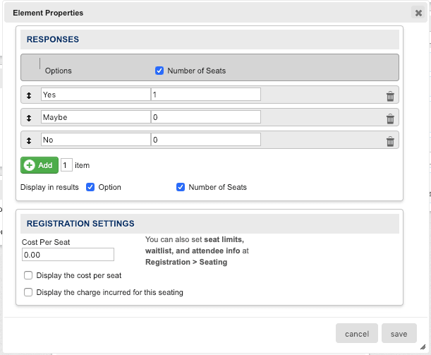 Settings for RSVP element