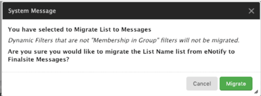 Migrate list warning message