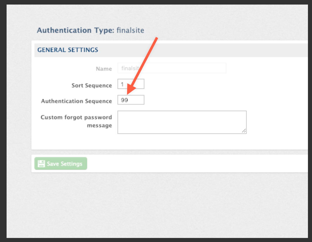 A view of the Authentication Settings page