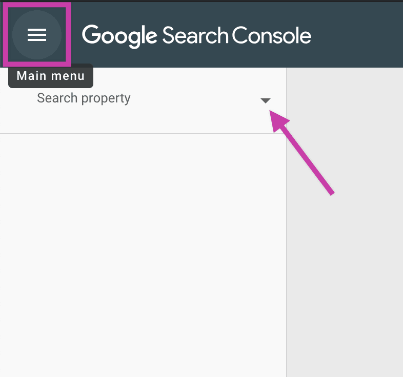Find property in Google Search Console