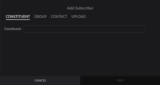 Add Subscriber modal window