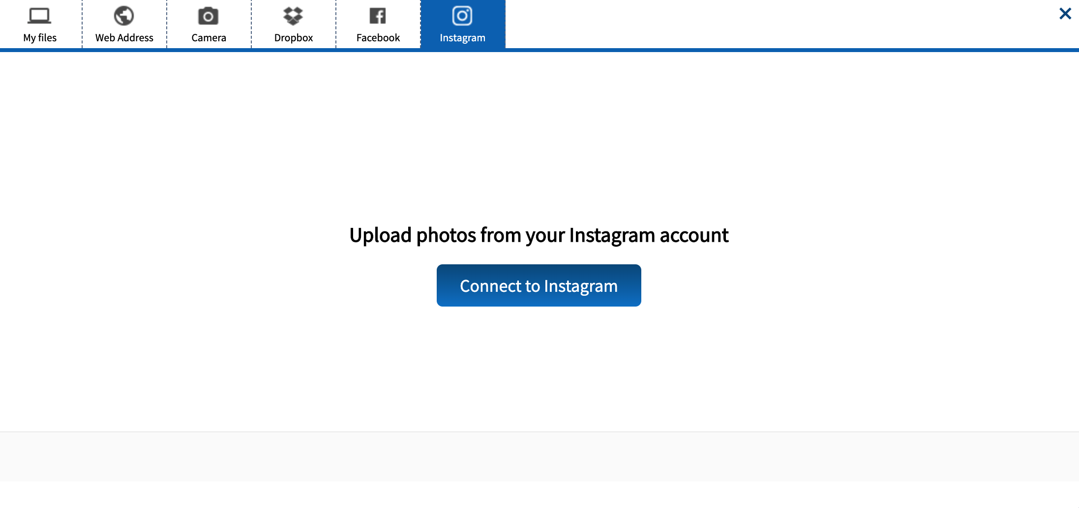 Upload resource from Instagram interface