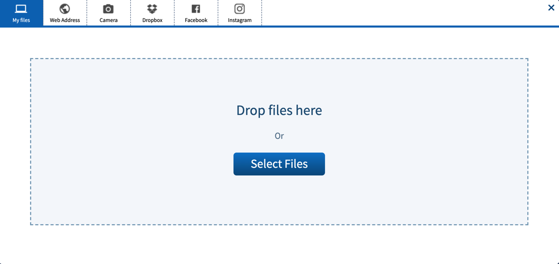 Upload resource from my files interface