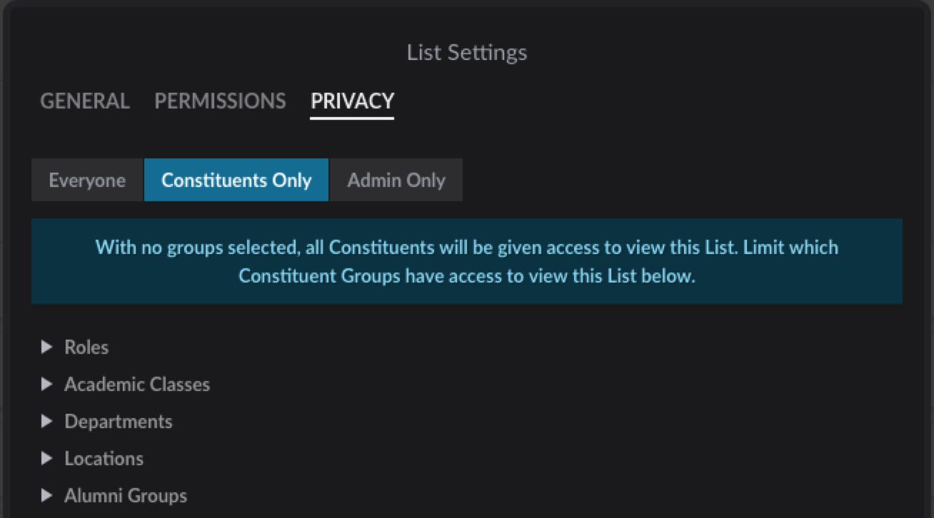 List Privacy settings screen set to Constituents Only