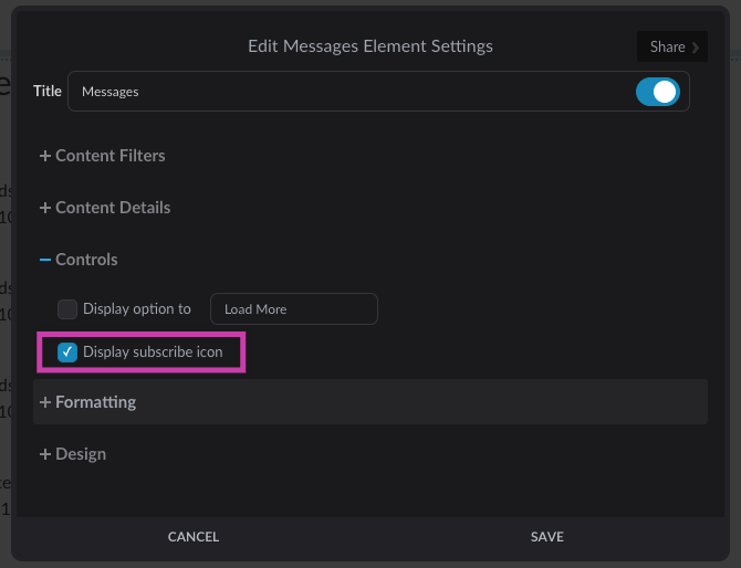 Messages element settings with Display subscribe icon highlighted