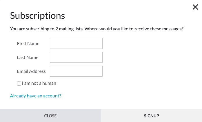 Information window to sign up for subscription without account