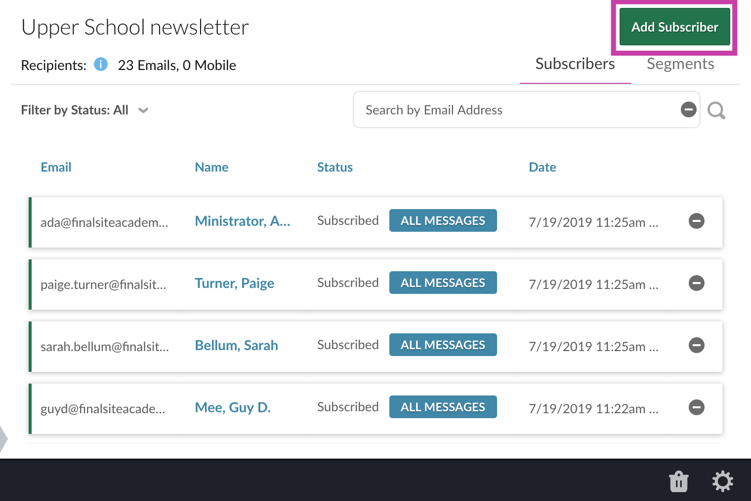 Add subscriber button on mailing list screen