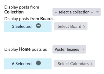 Display posts from Collection, Display posts from Boards, Select Board, and Display Home posts as controls from Mobile Apps