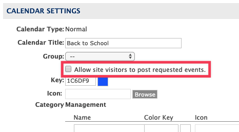 Calendar settings with Allow site visitors to post requested events checkbox highlighted