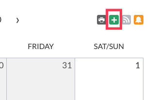 Icons at the top right of a Calendar element with request event + icon highlighted