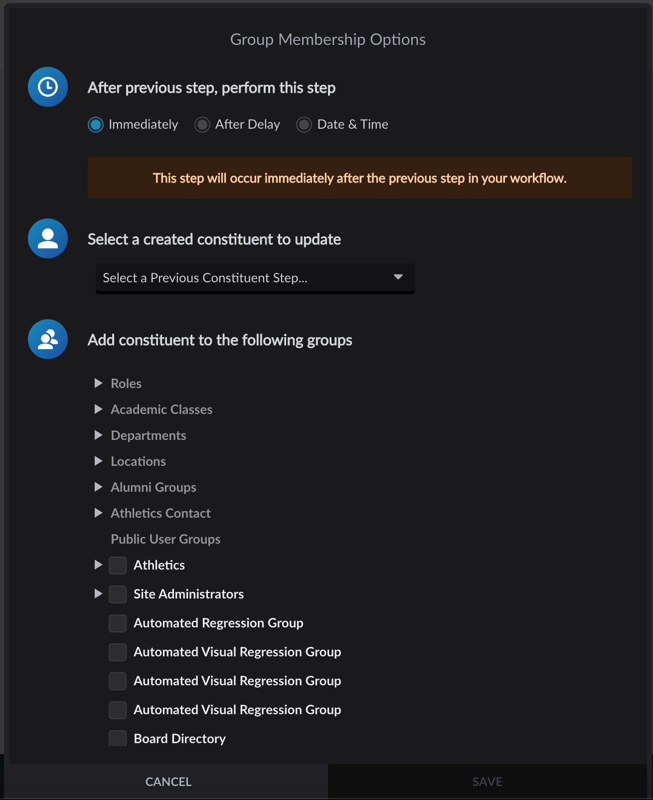 Group Membership options menu in Form workflow