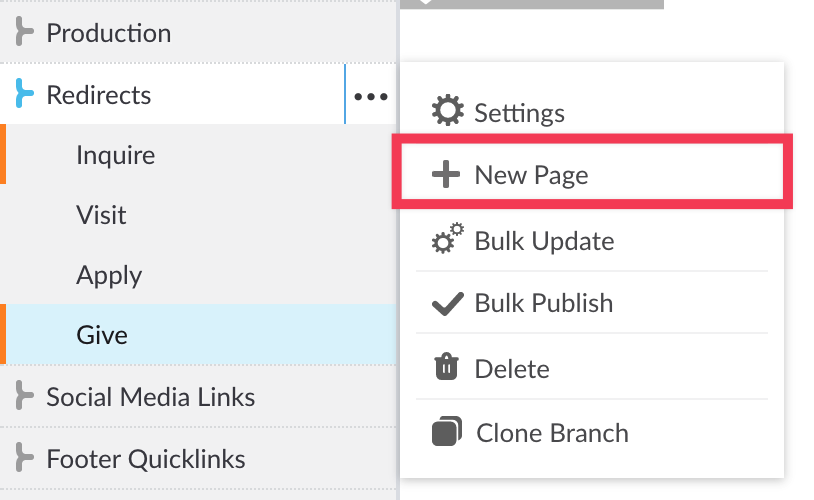 More Actions menu next to Redirect branch with New Page link highlighted