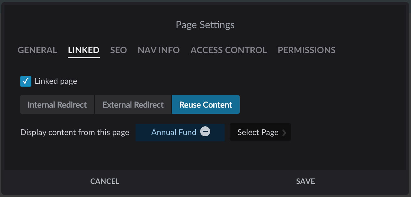 Linked page settings with Reuse Content button selected