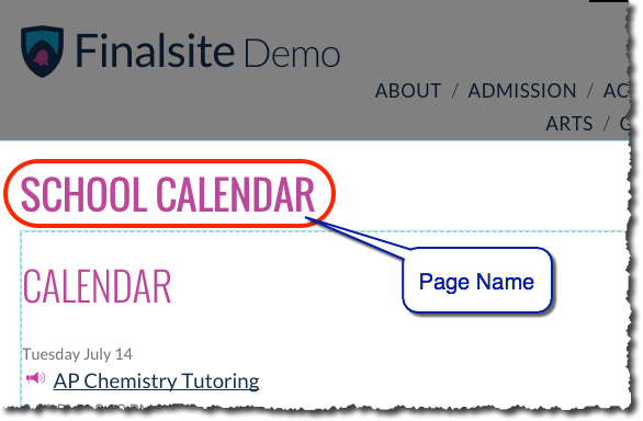 Customize page addresses and URLs – Finalsite Support Help Center