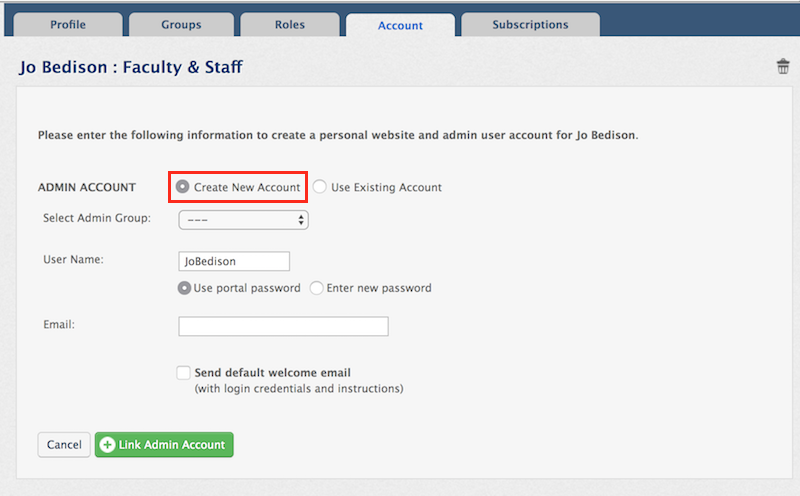 Create New Account radio button highlighted on admin account creation screen